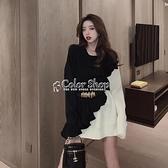 韓版時尚拼接毛衣裙女氣質寬鬆顯瘦2010年新款洋氣針織洋裝 SUPER SALE 快速出貨