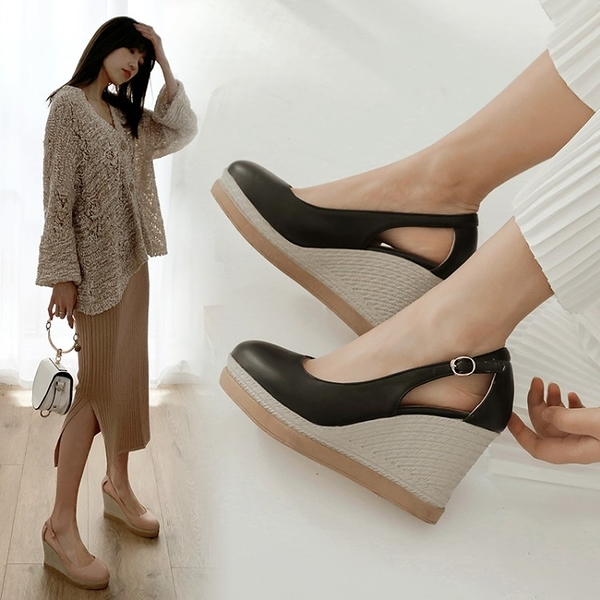 大尺碼女鞋34~44 2020波西米亞風厚底涼拖鞋楔形鞋~3色