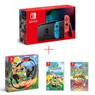 任天堂 Nintendo Switch 紅藍主機+健身環+動物森友會+寶可夢迷宮救難隊遊戲片 公司貨 再送水冷扇