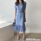 韓國chic溫柔圓領鏤空設計高腰修身顯瘦冰絲針織包臀魚尾洋裝女 蘇菲小店
