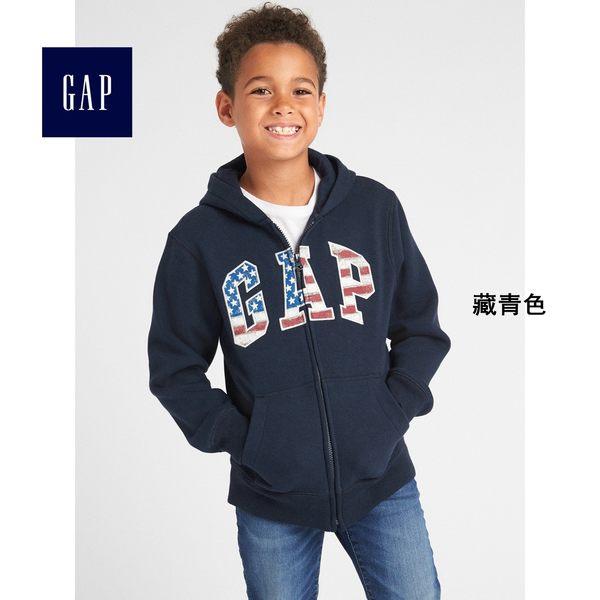 Gap男童 Logo系列舒適拉鏈連帽長袖休閒外套 358340-藏青色