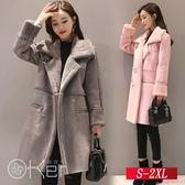 冬季加厚保暖中長款羊羔毛外套 S-2XL O-Ker歐珂兒 156271-C