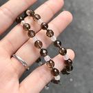 『晶鑽水晶』天然茶晶手鍊 6mm 圓珠 鑽石切角度 避邪擋煞 防小人 自編款式 可調式 禮物 生日禮物