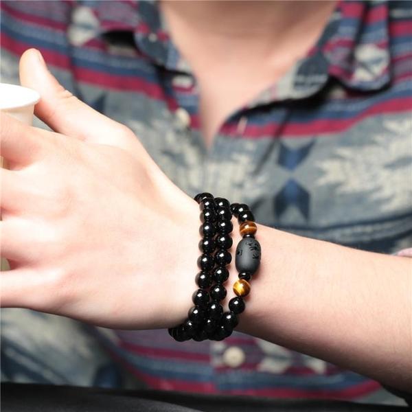 佛珠 手鍊男士多層手鍊女黑色佛珠情侶手串簡約時尚飾品