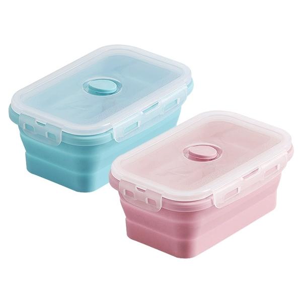 環保矽膠折疊收納便當盒500ml(單入) 款式可選【小三美日】