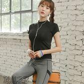 瑜伽服春季跑步運動短袖健身房新款健身服女速干高領T恤修身