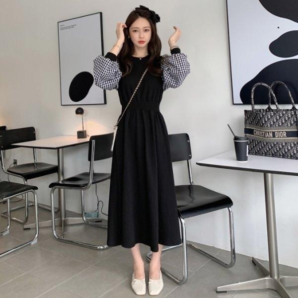 韓國製.復古格紋收腰抓皺高腰公主袖洋裝.白鳥麗子