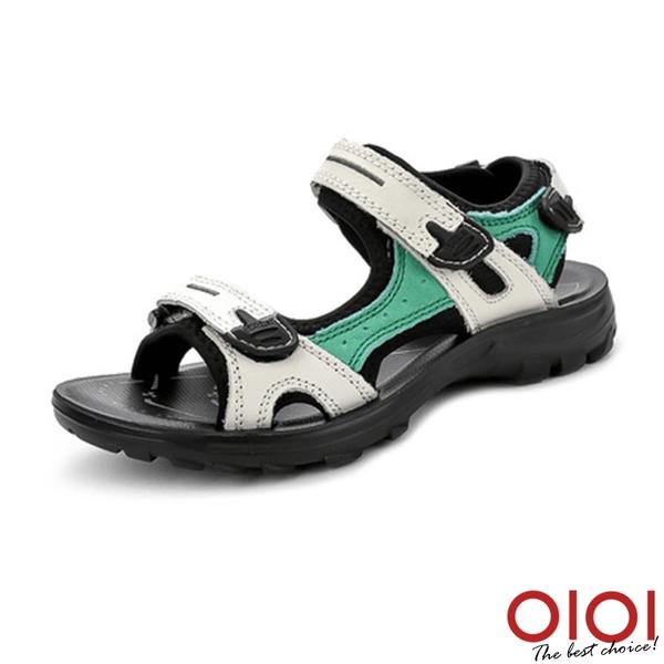涼鞋 夏日定番魔鬼氈休閒涼鞋(白綠)*0101shoes【18-263gen】【現+預】