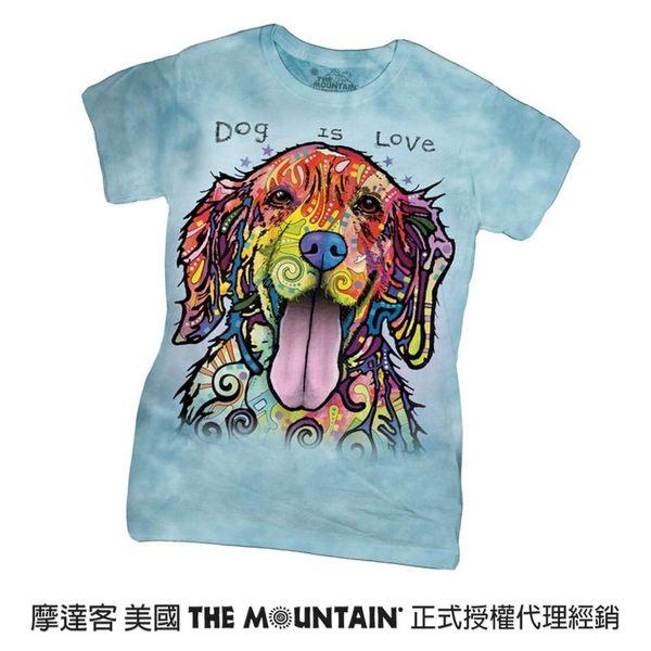 【摩達客】(預購)美國進口The Mountain 彩繪開心黃金獵犬 短袖女版T恤精梳棉環保染(12516045044a)