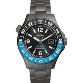 全台限量10台 FOSSIL FB - GMT 限量鈦金屬200米潛水錶-灰/45mm LE1100