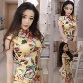 復古改良版旗袍2087夏季新款氣質名媛修身顯瘦包臀洋裝開叉短裙  晴光小語