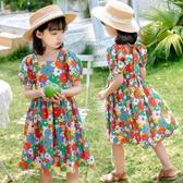 女童連衣裙 童裝女童夏裝 新款韓版洋氣印花短袖兒童女孩純棉布連衣裙子 瑪麗蘇