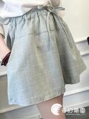 短褲-夏季新款韓版棉麻格子短褲女潮寬松大碼顯瘦學生闊腿裙褲休閑熱褲-奇幻樂園