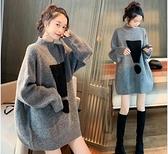 孕婦冬裝套裝時尚款外穿寬鬆冬天加厚毛衣中長款秋冬打底上衣冬季