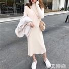 半高領寬鬆針織打底洋裝女裙子秋冬新款外穿加厚長款過膝毛衣裙 小艾新品