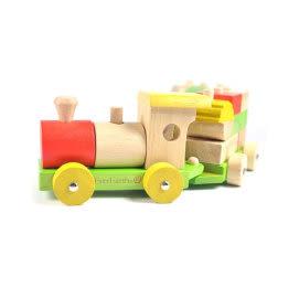 適用1歲以上 無毒玩具 德國EverEarth環保系寶寶成長木玩 形狀疊疊小火車(三節) 積木