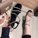 促銷全場九折 涼鞋女年新款春季韓版網紅小清新時尚水鉆粗跟一字帶羅馬鞋潮
