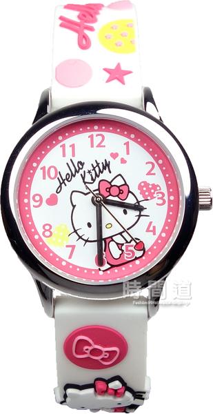 【時間道】[Hello Kitty。錶]矽膠錶帶立體KITTY腕錶/白面白矽膠帶(KT013LWWW-A)免運費