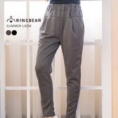 鉛筆褲--休閒時尚歐美風格鬆緊腰間裝飾車褶雙口袋純棉窄管褲(黑.灰XL-4L)-P127眼圈熊中大尺碼◎