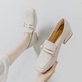 樂福鞋 真皮英倫風小皮鞋女鞋子2021春秋新款中跟豆豆單鞋百搭軟皮樂福鞋