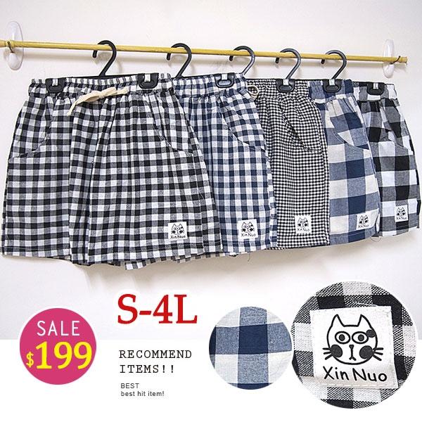 BOBO小中大尺碼【3521】鬆緊格紋小貓圖案短褲 S-4L 共5色 現貨
