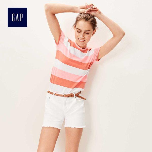 Gap女裝 復古條紋短袖圓領T恤 440732-珊瑚色條紋