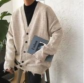 春季慵懶風毛衣男士韓版潮流針織開衫春季港風百搭長袖外套寬鬆 藍嵐小舖