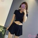 泳裝 分體泳衣女三件套可愛日繫溫泉保守遮肚顯瘦性感小胸韓國網紅泳裝一次元