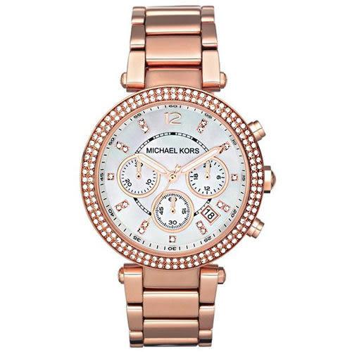 MICHAEL KORS 玫瑰金水鑽貝殼面三眼碼表女錶 39mm MK5491 公司貨保固2年   名人鐘錶高雄門市