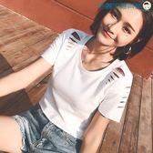 雙十二狂歡純棉短款t恤女修身時尚破洞上衣【洛麗的雜貨鋪】