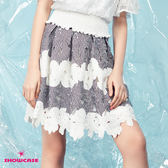 【SHOWCASE】休閒蕾絲緹花鬆緊腰條紋百褶短裙(藍)