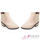 *MOM* 英倫風復古雕花小尖頭套筒小短靴 踝靴 米 35-39碼【現+預】