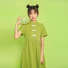 旗袍 牛油果綠復古中國風盤扣短袖寬鬆顯瘦個性少女日常改良旗袍連衣裙