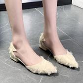 尖头鞋尖頭單鞋女2019春秋款新款粗跟時尚百搭韓版低跟平底鞋子淺口女鞋 非凡小铺