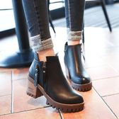 秋冬新款高跟粗跟韓版女鞋短靴英倫馬丁靴時尚女靴子學生新春喜迎好年