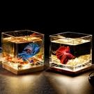 超白加厚方形玻璃魚缸客廳辦公桌面創意生態小型斗魚缸夜燈迷你缸 小山好物