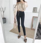 牛仔褲女秋裝新款韓版時尚高腰百搭不規則排扣修身顯瘦小腳九分褲