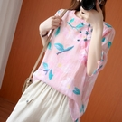 大呎碼棉衫T恤~短袖上衣~棉麻短袖寬松上衣單件上衣襯衫防曬衣R025A衣時尚