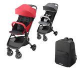 Aprica nano smart Plus 可折疊嬰兒車 紅/灰 【買就送】 專用旅行揹包