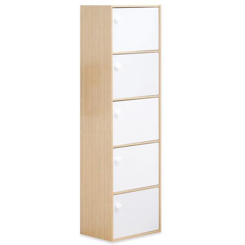 《百嘉美》(H)白橡配白粉彩五門收納櫃/置物櫃 斗櫃 置物櫃 電腦桌 電腦椅 立鏡 鞋架 鞋櫃 衣櫃