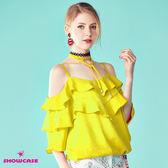 【SHOWCASE】唯美露肩細肩綁帶荷葉領縮腰上衣(黃)