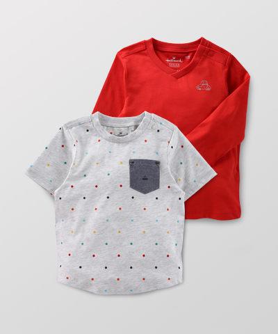 Hallmark Babies 男童簡約長袖短袖上衣 (兩件裝) HD1-R14-04-KB-PR