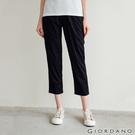 【GIORDANO】 女裝素色鬆緊腰休閒九分褲 - 09 標誌黑
