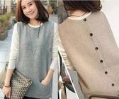 春季新款韓版女裝圓領背心修身針織羊毛馬甲套頭毛衣坎肩外套 韓慕精品