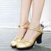 高跟鞋 韓版女鞋子 全牛皮舞蹈鞋中跟廣場舞鞋女式軟底透氣高跟舞鞋粗跟鞋【多多鞋包店】ds5135