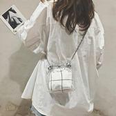 夏天小包包女新款潮流百搭單肩包塑料透明包錬條斜挎水桶包  Cocoa