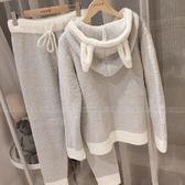 日繫可愛兔耳朵軟綿綿秋冬保暖睡衣女家居服套裝月子服