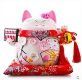 招財貓擺件開業店鋪陶瓷創意家居擺放存錢儲蓄罐【中號算盤花季】
