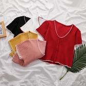 單排扣褶皺短款針織衫T恤女2020春夏季新款韓版女裝短袖顯瘦上衣 新品上新