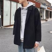 秋冬季港風chic毛呢外套男韓版寬鬆呢子風衣潮流短款加厚情侶大衣